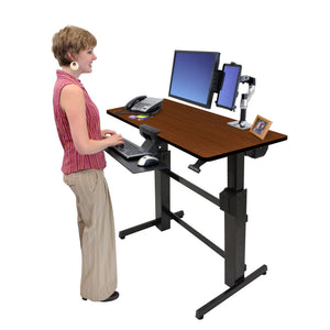 "Ergotron WorkFit-D 48"" Wide Pneumatic Adjustable Height Standing Desk-Pneumatic Standing Desks-Ergotron-Walnut-Black-Ergo Standing Desks"