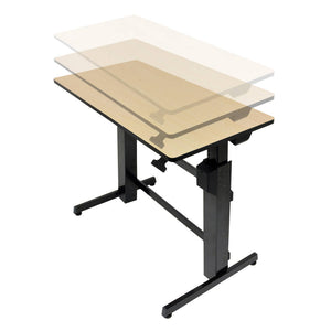 "Ergotron WorkFit-D 48"" Wide Pneumatic Adjustable Height Standing Desk-Pneumatic Standing Desks-Ergotron-Birch-Black-Ergo Standing Desks"