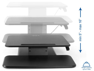 "Vivo 25"" Wide Compact Adjustable Height Sit Stand Desk Converter- Black-Standing Desk Converters-Vivo-Black-Ergo Standing Desks"