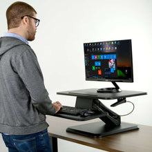 "Load image into Gallery viewer, Vivo 25"" Wide Compact Adjustable Height Sit Stand Desk Converter- Black-Standing Desk Converters-Vivo-Black-Ergo Standing Desks"