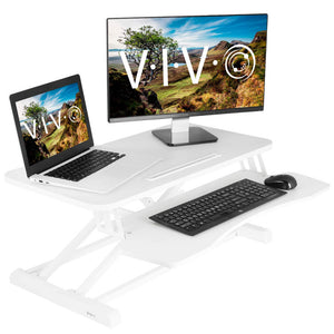 "Vivo 32"" Wide Adjustable Sit Stand Desk Converter-Standing Desk Converters-Vivo-White-Ergo Standing Desks"
