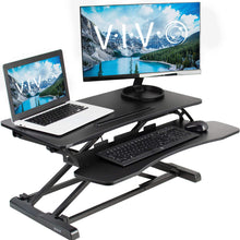 "Load image into Gallery viewer, Vivo 32"" Wide Adjustable Sit Stand Desk Converter-Standing Desk Converters-Vivo-Black-Ergo Standing Desks"