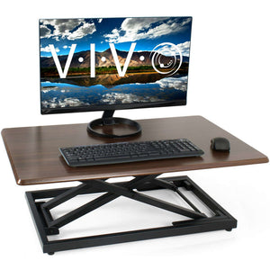 "Vivo 32"" Wide Wood Compact Adjustable Laptop Standing Desk Converter-Standing Desk Converters-Vivo-Dark Espresso Wood-Ergo Standing Desks"