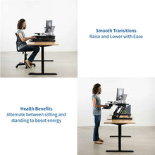 "Load image into Gallery viewer, Vivo 35"" Wide Adjustable Height Sit Stand Desk Converter- Black-Standing Desk Converters-Vivo-Black-Ergo Standing Desks"