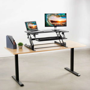 "Vivo 35"" Wide Adjustable Height Sit Stand Desk Converter- Black-Standing Desk Converters-Vivo-Black-Ergo Standing Desks"
