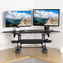 "Load image into Gallery viewer, Vivo 40"" Wide Adjustable Height Corner Standing Desk Converter- Black-Corner Standing Desk-Vivo-Black-Ergo Standing Desks"