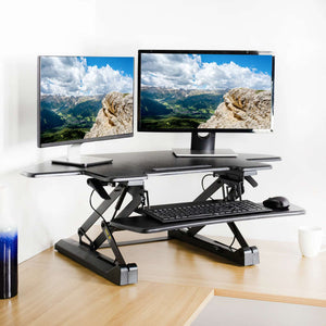 "Vivo 40"" Wide Adjustable Height Corner Standing Desk Converter- Black-Corner Standing Desk-Vivo-Black-Ergo Standing Desks"