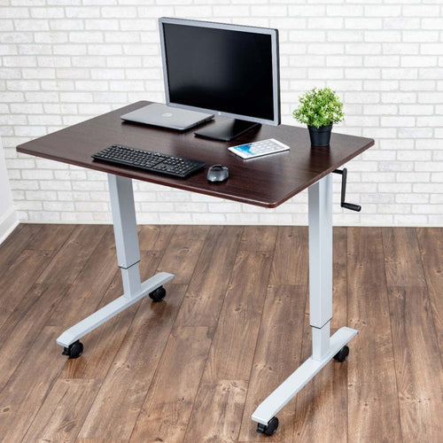 Luxor High Speed Crank Adjustable Height Mobile Sit Stand Desk-Crank Adjustable Desks-Luxor-Dark Walnut-29.5