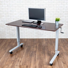 "Load image into Gallery viewer, Luxor High Speed Crank Adjustable Height Mobile Sit Stand Desk-Crank Adjustable Desks-Luxor-Dark Walnut-29.5"" x 59""-Ergo Standing Desks"