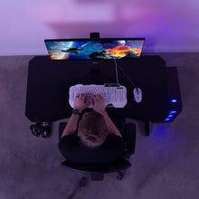 "Load image into Gallery viewer, Vivo 47"" Wide Z-Shaped Black Gaming Desk-Gaming Desks-Vivo-Black-Ergo Standing Desks"