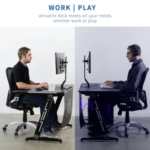 "Vivo 47"" Wide Z-Shaped Black Gaming Desk-Gaming Desks-Vivo-Black-Ergo Standing Desks"
