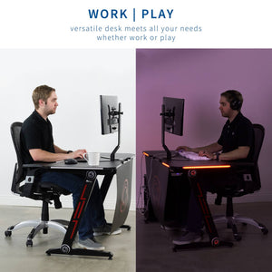 "Vivo 47"" Wide Z-Shaped Black Gaming Desk w/ Red LED Lights-Gaming Desks-Vivo-Black-Ergo Standing Desks"