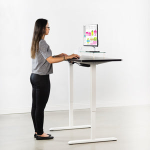 "Vivo 60"" Wide Electric Adjustable Standing Desk with Memory Presets- White Frame-Electric Standing Desks-Vivo-Black Top-Ergo Standing Desks"