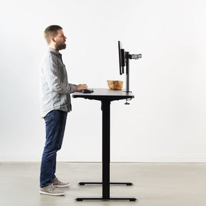 "Vivo 60"" Wide Standard Electric Adjustable Standing Desk- Black Frame-Electric Standing Desks-Vivo-Black Top-Ergo Standing Desks"