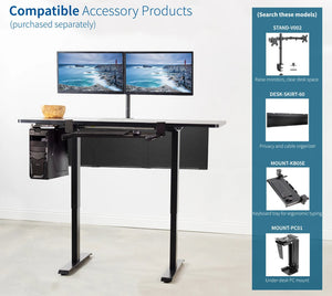 "Vivo 60"" Wide Standard Electric Adjustable Standing Desk- Black Frame-Electric Standing Desks-Vivo-Ergo Standing Desks"