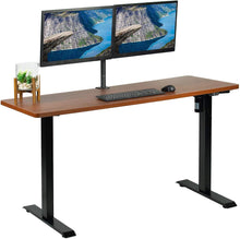 "Load image into Gallery viewer, Vivo 60"" Wide Standard Electric Adjustable Standing Desk- Black Frame-Electric Standing Desks-Vivo-Dark Walnut Top-Ergo Standing Desks"
