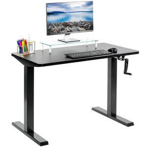 "Vivo 43"" Wide Crank Adjustable Height Sit Stand Desk-Crank Adjustable Desks-Vivo-Black-Black-Ergo Standing Desks"