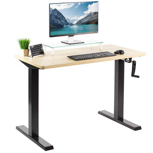 "Vivo 43"" Wide Crank Adjustable Height Sit Stand Desk-Crank Adjustable Desks-Vivo-Light Wood-Black-Ergo Standing Desks"