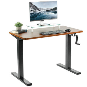 "Vivo 43"" Wide Crank Adjustable Height Sit Stand Desk-Crank Adjustable Desks-Vivo-Dark Walnut-Black-Ergo Standing Desks"