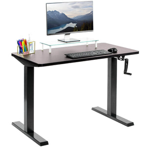 "Vivo 43"" Wide Crank Adjustable Height Sit Stand Desk-Crank Adjustable Desks-Vivo-Espresso-Black-Ergo Standing Desks"