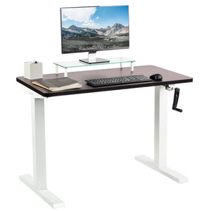 "Vivo 43"" Wide Crank Adjustable Height Sit Stand Desk-Crank Adjustable Desks-Vivo-Espresso-White-Ergo Standing Desks"