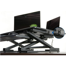 "Load image into Gallery viewer, Vivo 32"" Wide Electric Adjustable Height Sit Stand Desk Converter- Black-Electric Standing Desks-Vivo-Black-Ergo Standing Desks"