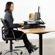 "Load image into Gallery viewer, Vivo 33"" Wide Adjustable Height Sit Stand Desk Riser- Black-Standing Desk Converters-Vivo-Black-Ergo Standing Desks"
