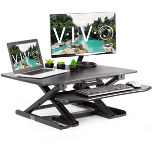 "Vivo 32"" Wide Adjustable Height Sit Stand Desk Riser- Black-Standing Desk Converters-Vivo-Black-Ergo Standing Desks"