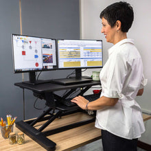 "Load image into Gallery viewer, Ergotech Freedom E-Desk 36"" Wide Electric Standing Desk Converter- Black-Standing Desk Converters-Ergotech-Black-Ergo Standing Desks"