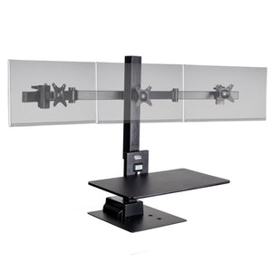 Ergotech Freedom E-Stand Electronic Standing Desk Converter with Monitor Mounts-Black-Standing Desk Converters-Ergotech-Triple-Ergo Standing Desks