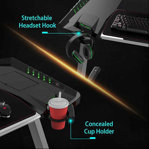 Eureka Ergonomic Z2 PC Gaming Desk with RGB LED Lights-Gaming Desks-Eureka Ergonomic-Black-Ergo Standing Desks