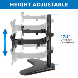 Mount-It Freestanding Full Motion Dual Monitor Stand-Monitor Arms-Mount-It-Black-Ergo Standing Desks