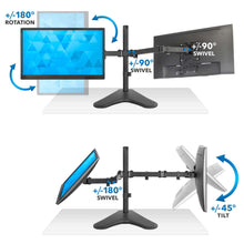 Load image into Gallery viewer, Mount-It Freestanding Full Motion Dual Monitor Stand-Monitor Arms-Mount-It-Black-Ergo Standing Desks