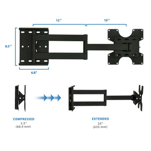 Mount-It Wall Mount Full Motion Articulating TV/Monitor Mount Arm-Monitor Arms-Mount-It-Black-Ergo Standing Desks