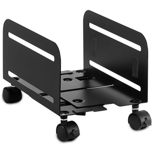 Mount-It Mobile CPU Stand With Four Caster Wheels-CPU Holders-Mount-It-Black-Ergo Standing Desks