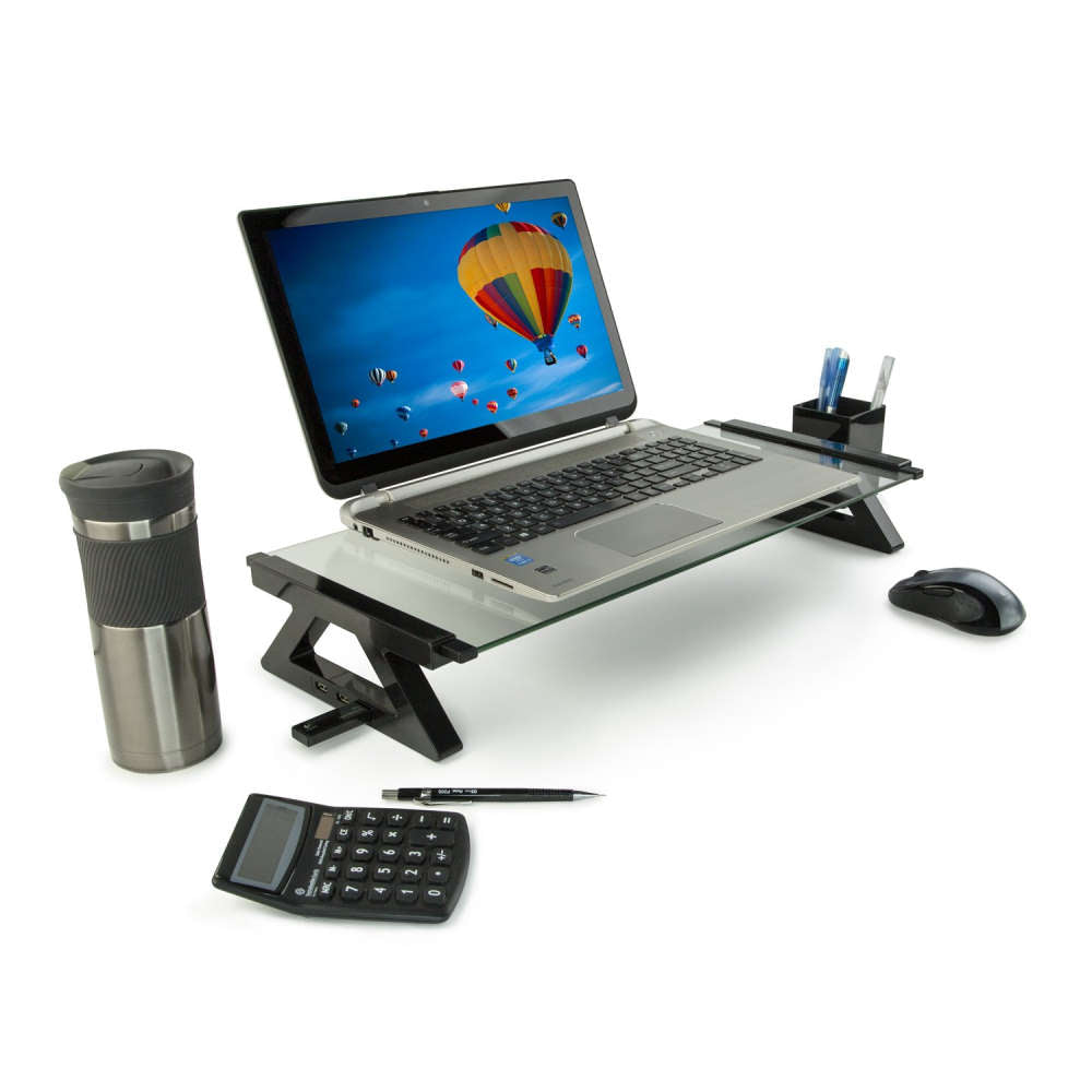Mount-It Tempered Glasss Monitor Stand/Riser with USB Ports-Monitor Stand-Mount-It-Clear-Ergo Standing Desks