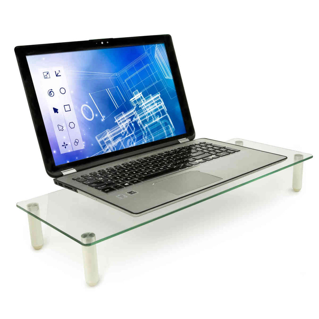 Mount-It Ergonomic Glasss Monitor Stand & Riser-Monitor Stand-Mount-It-Clear-Ergo Standing Desks