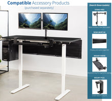 "Load image into Gallery viewer, Vivo 60"" Wide Electric Adjustable Standing Desk with Memory Presets- White Frame-Electric Standing Desks-Vivo-Ergo Standing Desks"