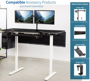 "Vivo 60"" Wide Electric Adjustable Standing Desk with Memory Presets- White Frame-Electric Standing Desks-Vivo-Ergo Standing Desks"