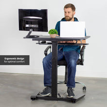 "Load image into Gallery viewer, Vivo 36"" Wide Compact Electric Adjustable Height Sit Stand Desk- Black-Compact Standing Desks-Vivo-Black-Ergo Standing Desks"