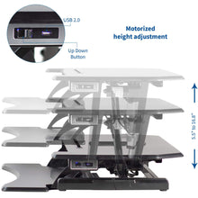 "Load image into Gallery viewer, Vivo 31"" Wide Electric Adjustable Height Sit Stand Desk Converter- Black-Electric Standing Desks-Vivo-Black-Ergo Standing Desks"
