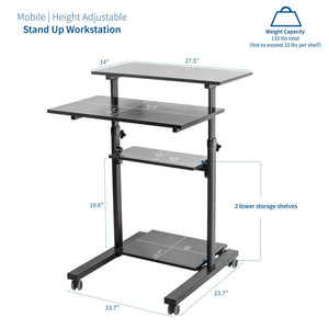 "Vivo 28"" Wide Compact Adjustable Height Mobile Work Desk- Black-Mobile Standing Desks-Vivo-Black-Ergo Standing Desks"