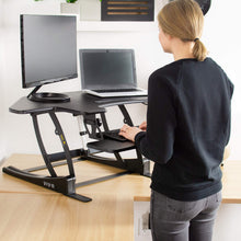 "Load image into Gallery viewer, Vivo 43"" Wide Electric Adjustable Height Corner Stand Up Desk Converter- Black-Corner Standing Desk-Vivo-Black-Ergo Standing Desks"