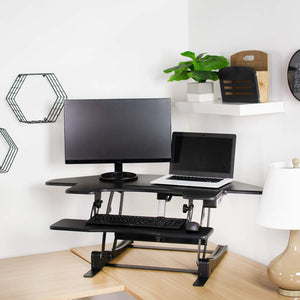 "Vivo 43"" Wide Electric Adjustable Height Corner Stand Up Desk Converter- Black-Corner Standing Desk-Vivo-Black-Ergo Standing Desks"