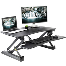 "Load image into Gallery viewer, Vivo 36"" Wide Electric Adjustable Height Stand Up Desk Converter- Black-Electric Standing Desks-Vivo-Black-Ergo Standing Desks"