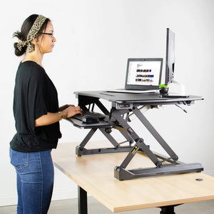 "Vivo 36"" Wide Electric Adjustable Height Stand Up Desk Converter- Black-Electric Standing Desks-Vivo-Black-Ergo Standing Desks"