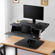 "Load image into Gallery viewer, Eureka Ergonomic 31.5"" Wide Adjustable Height Stand Desk Converter-Standing Desk Converters-Eureka Ergonomic-Black-Ergo Standing Desks"