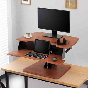 "Eureka Ergonomic 31.5"" Wide Adjustable Height Stand Desk Converter-Standing Desk Converters-Eureka Ergonomic-Cherry-Ergo Standing Desks"