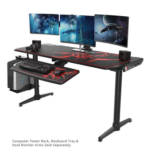 Eureka Ergonomic I60 Computer Gaming Desk-Gaming Desks-Eureka Ergonomic-Black-Ergo Standing Desks