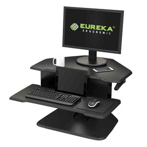 "Eureka Ergonomic 28"" Wide Adjustable Height Corner Standing Desk Converter-Corner Standing Desk-Eureka Ergonomic-Black-Ergo Standing Desks"
